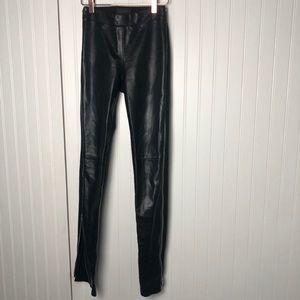 Daniel Italian leather high rise zipper pants